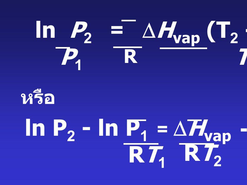ln P2 = DHvap (T2 - T1) P1 T1T2 ln P2 - ln P1 = DHvap - DHvap RT2 RT1