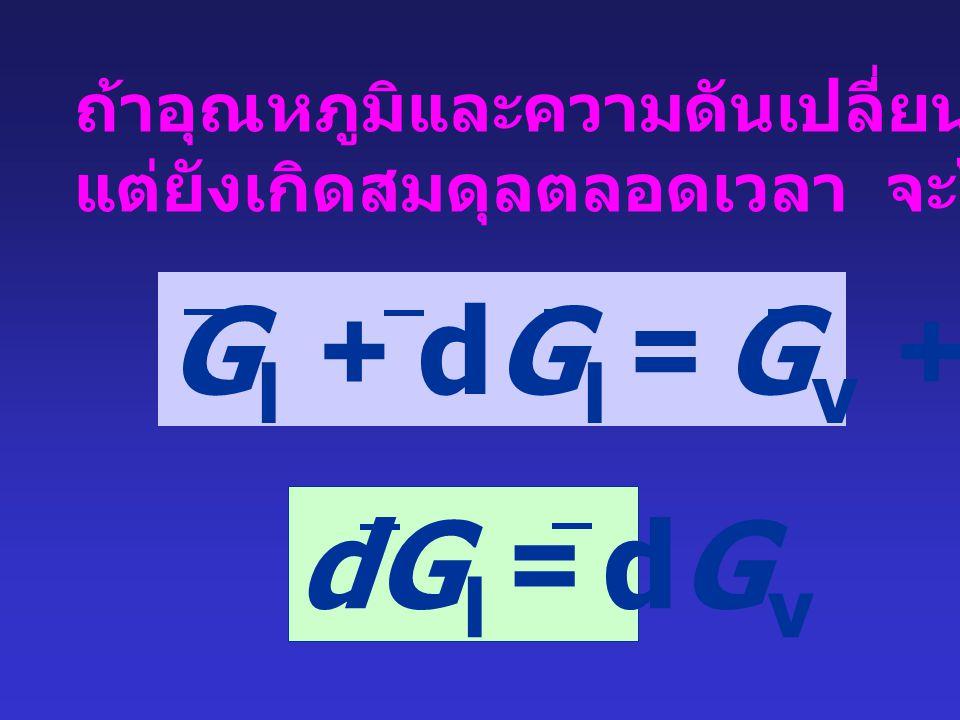 Gl + dGl = Gv + dGv dGl = dGv ถ้าอุณหภูมิและความดันเปลี่ยนแปลง