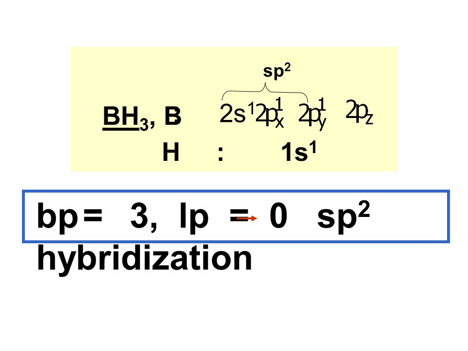 bp = 3, lp = 0 sp2 hybridization