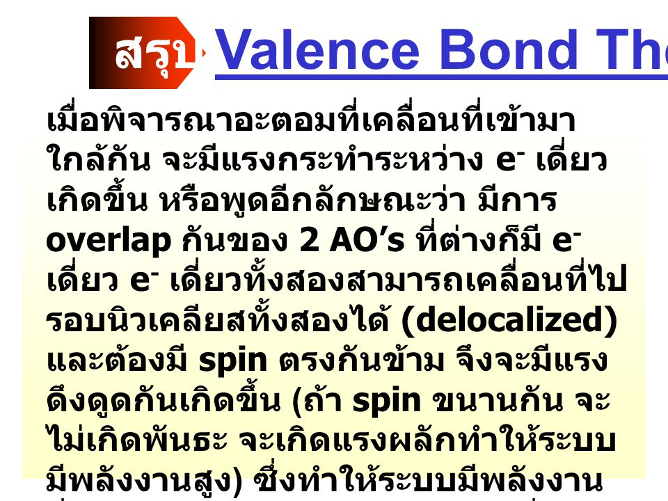 Valence Bond Theory สรุป