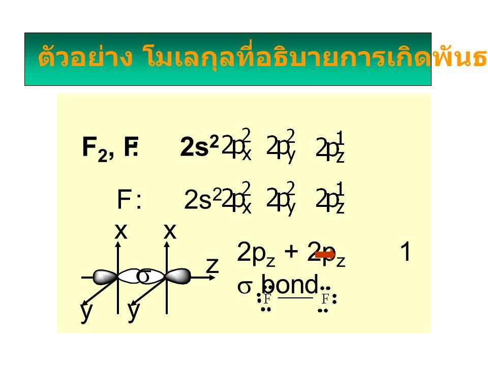 ตัวอย่าง โมเลกุลที่อธิบายการเกิดพันธะโดย VBT