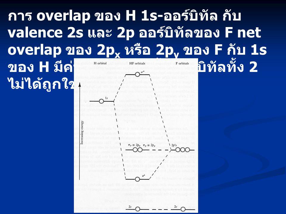การ overlap ของ H 1s-ออร์บิทัล กับ valence 2s และ 2p ออร์บิทัลของ F net overlap ของ 2px หรือ 2py ของ F กับ 1s ของ H มีค่าเป็นศูนย์ดังนั้นออร์บิทัลทั้ง 2 ไม่ได้ถูกใช้ในการสร้าง MO's