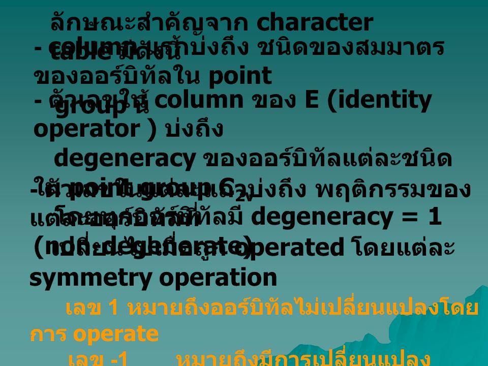 ลักษณะสำคัญจาก character table มีดังนี้