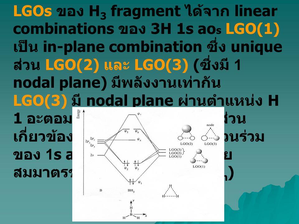 LGOs ของ H3 fragment ได้จาก linear combinations ของ 3H 1s aos LGO(1) เป็น in-plane combination ซึ่ง unique ส่วน LGO(2) และ LGO(3) (ซึ่งมี 1 nodal plane) มีพลังงานเท่ากัน