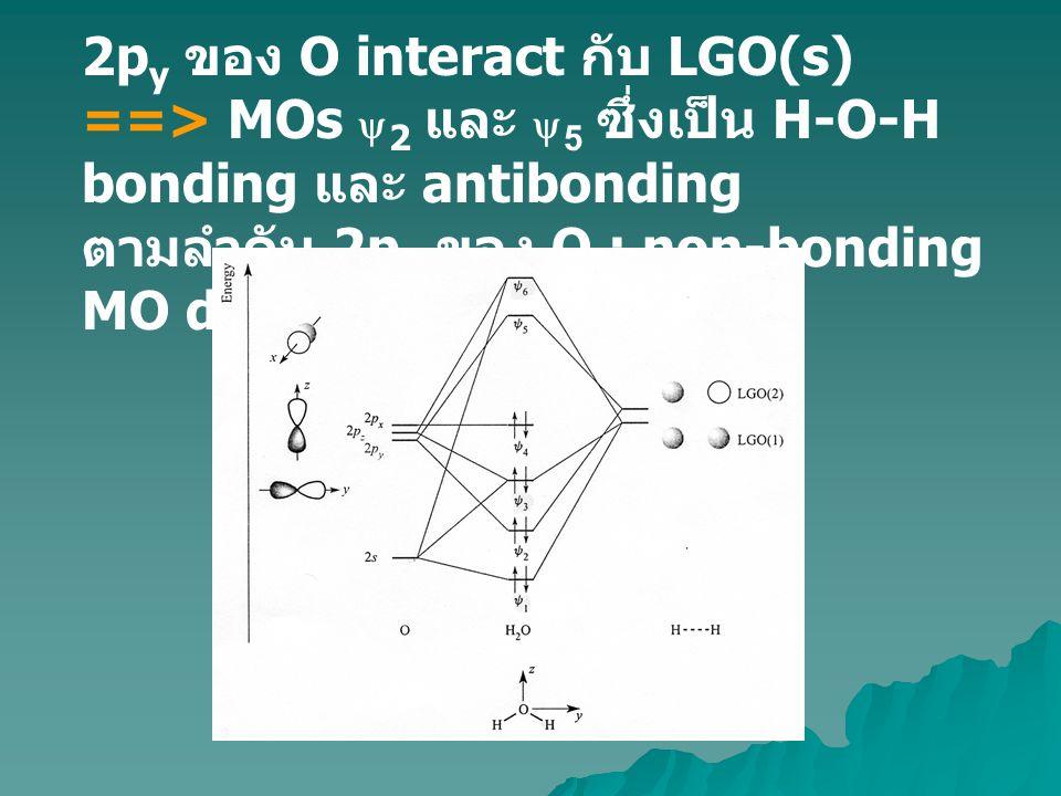2py ของ O interact กับ LGO(s) ==> MOs y2 และ y5 ซึ่งเป็น H-O-H bonding และ antibonding ตามลำดับ 2px ของ O : non-bonding MO diagram ดังรูป