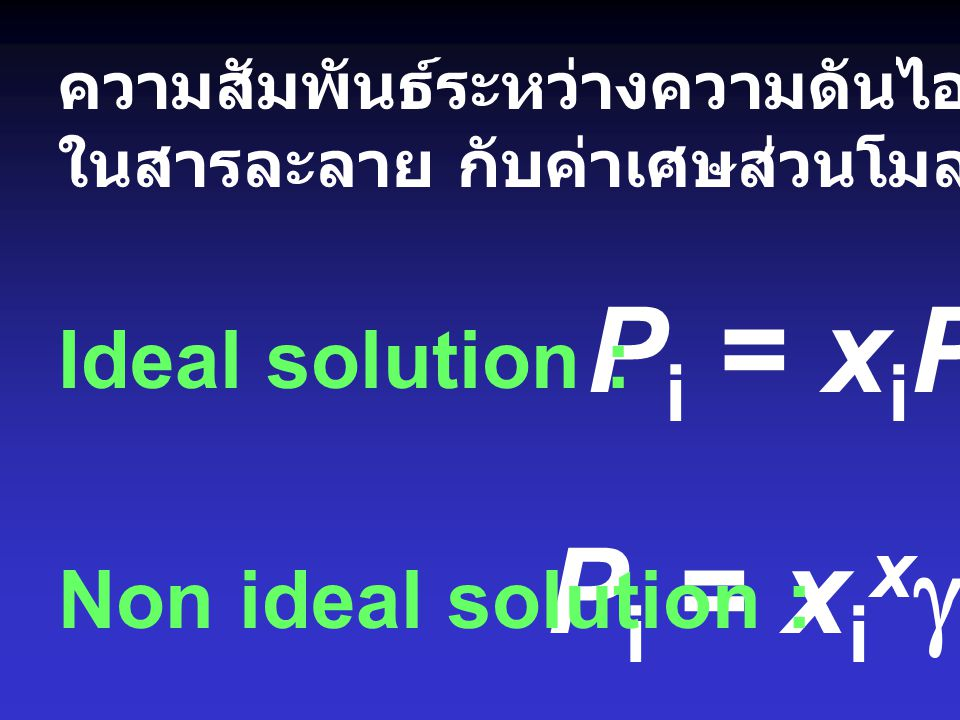 Pi = xiPi* Pi = xixgiPi* Ideal solution : Non ideal solution :