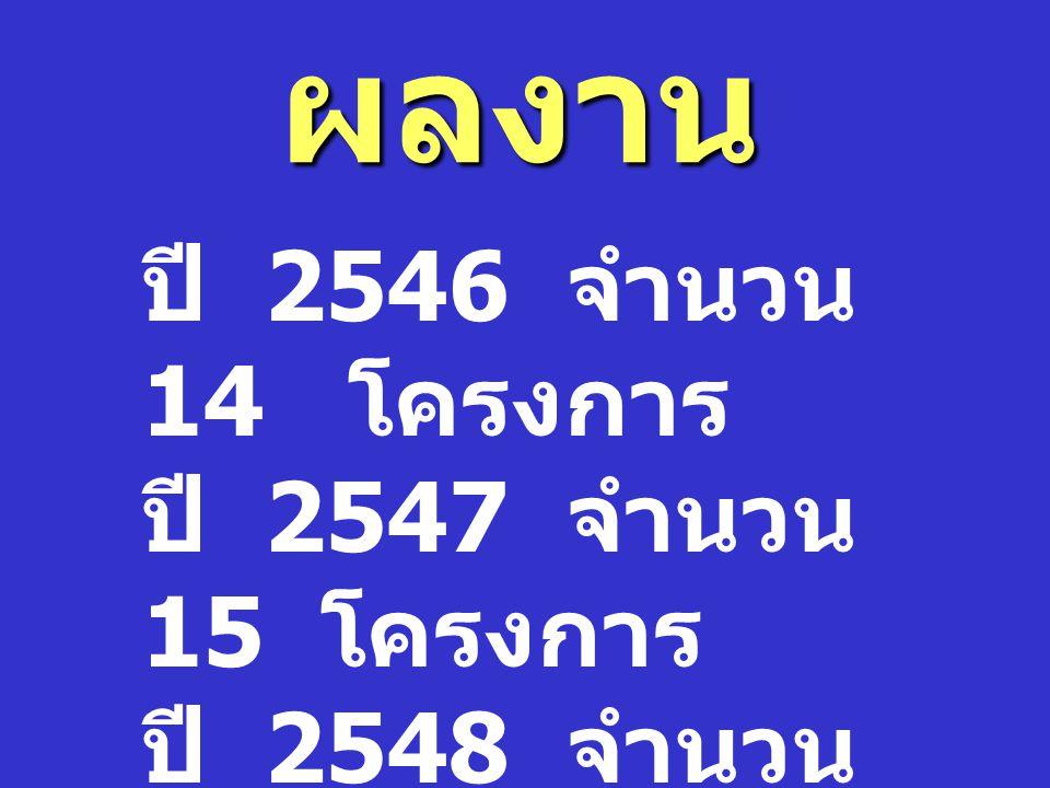 ผลงาน ปี 2546 จำนวน 14 โครงการ ปี 2547 จำนวน 15 โครงการ