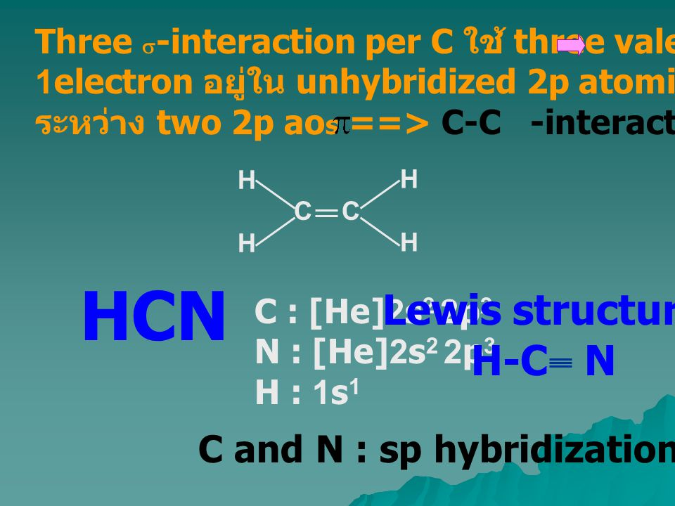 HCN Lewis structure H-C N C and N : sp hybridization