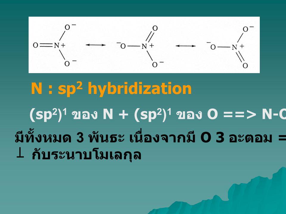 N : sp2 hybridization (sp2)1 ของ N + (sp2)1 ของ O ==> N-O s-interaction. มีทั้งหมด 3 พันธะ เนื่องจากมี O 3 อะตอม ==> N เหลือ 1(p)1.