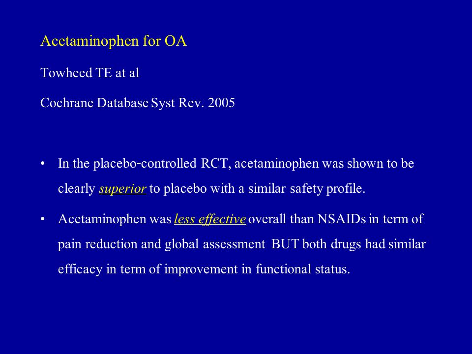 Acetaminophen for OA Towheed TE at al Cochrane Database Syst Rev. 2005
