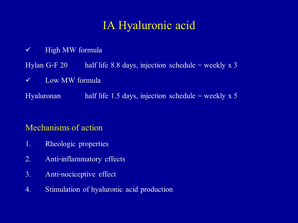 IA Hyaluronic acid Mechanisms of action High MW formula