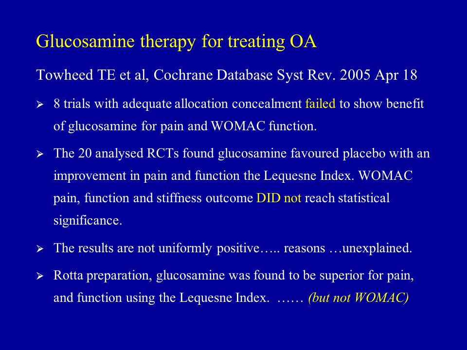 Glucosamine therapy for treating OA