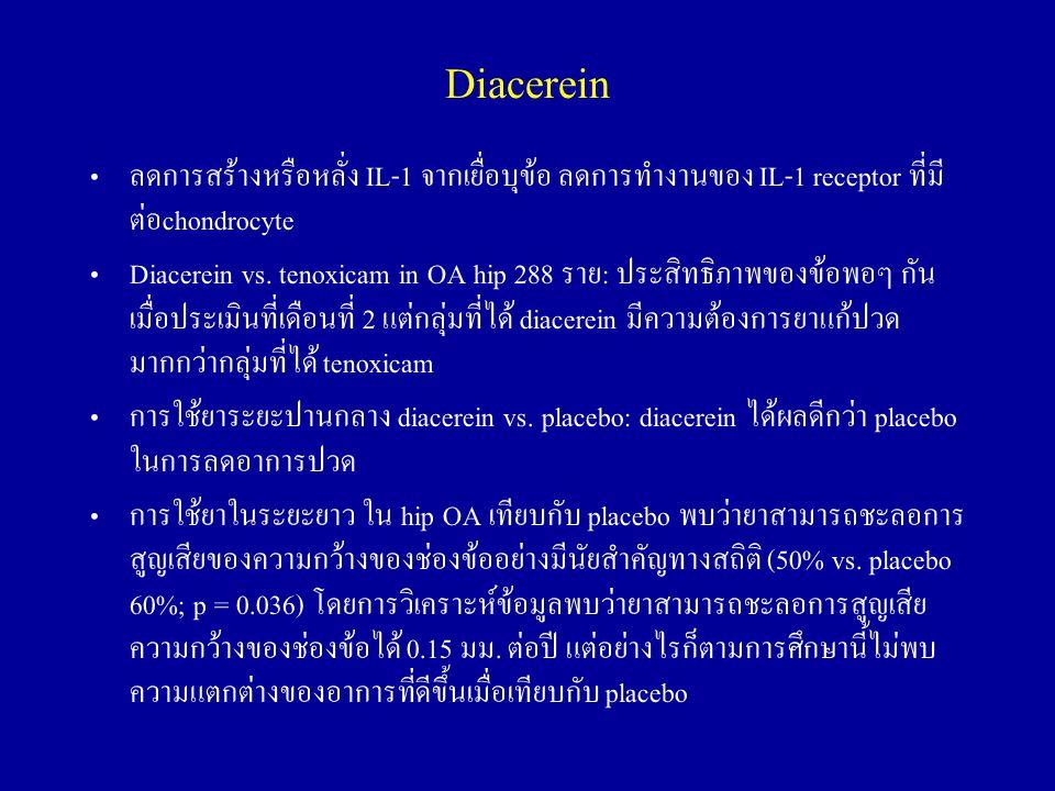 Diacerein ลดการสร้างหรือหลั่ง IL-1 จากเยื่อบุข้อ ลดการทำงานของ IL-1 receptor ที่มีต่อchondrocyte.