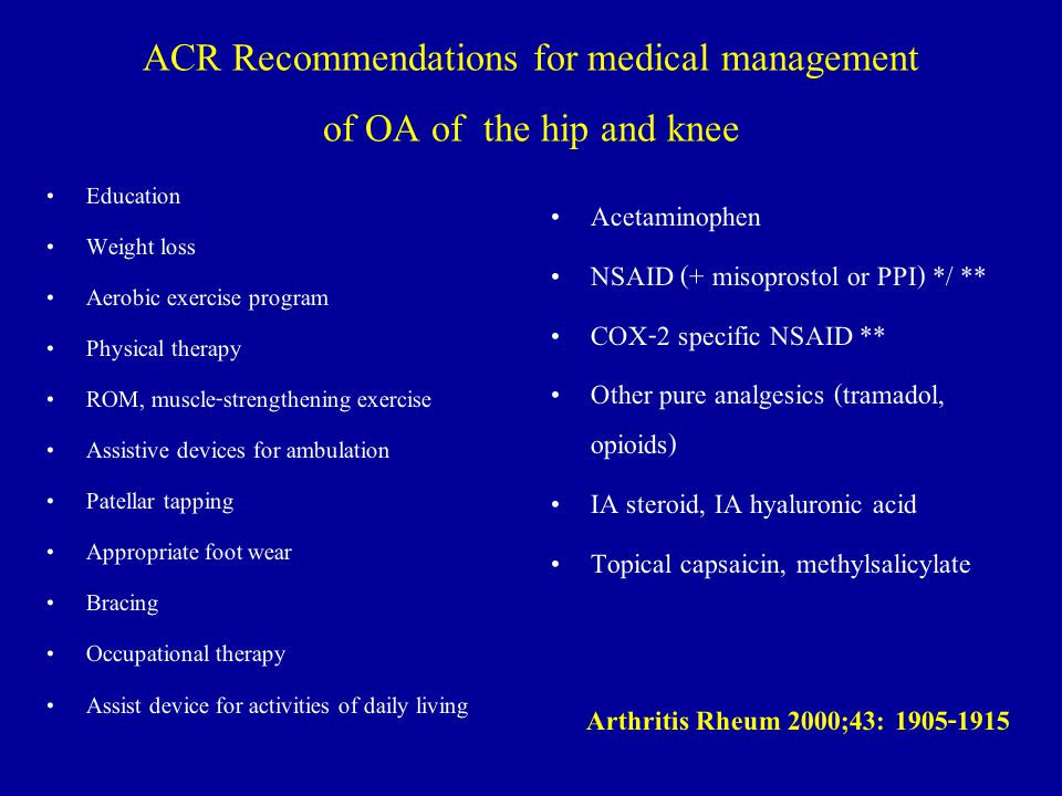 ACR Recommendations for medical management of OA of the hip and knee