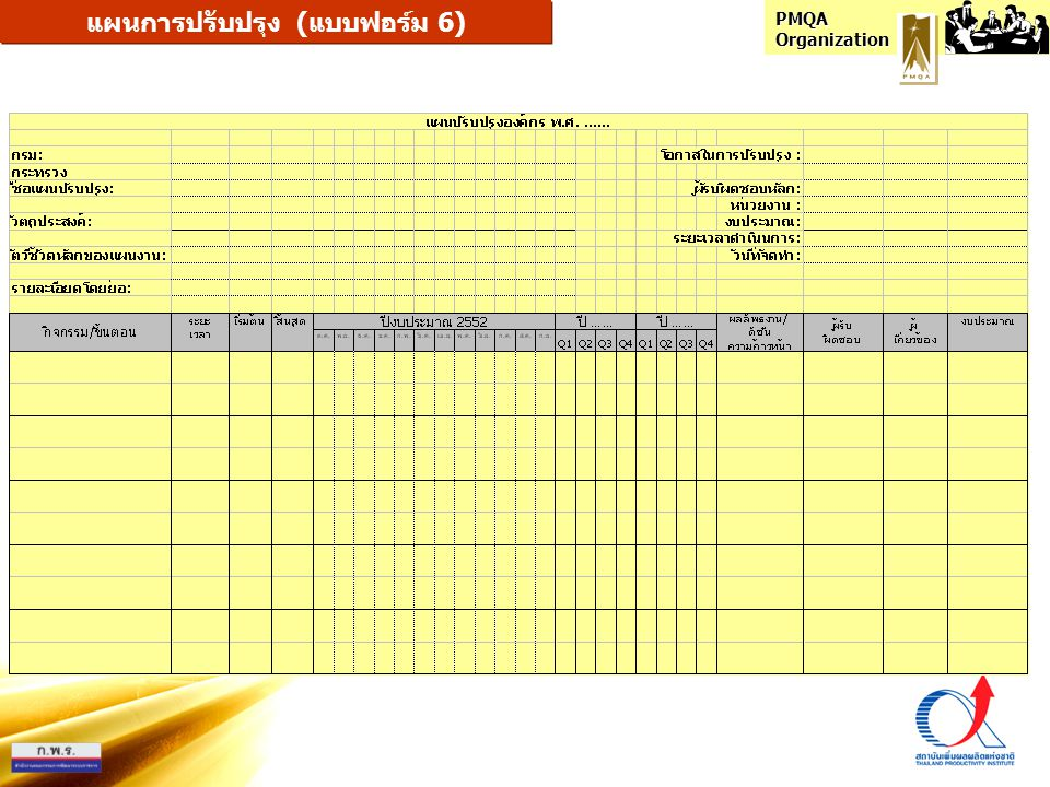 แผนการปรับปรุง (แบบฟอร์ม 6)