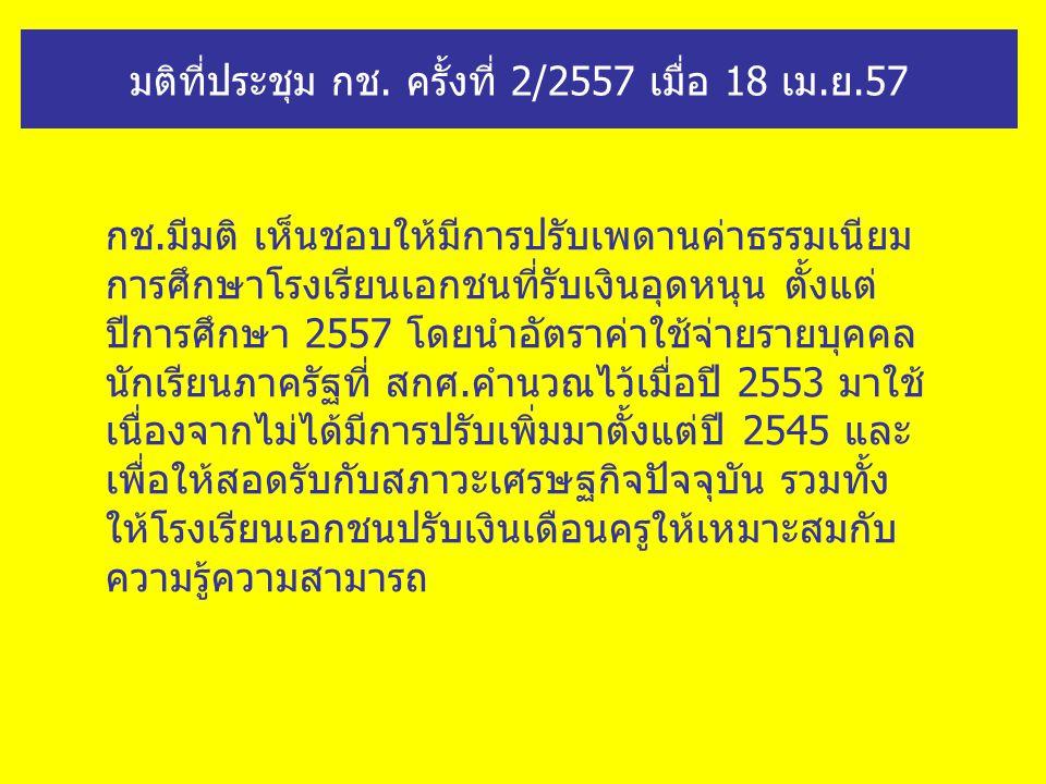 มติที่ประชุม กช. ครั้งที่ 2/2557 เมื่อ 18 เม.ย.57