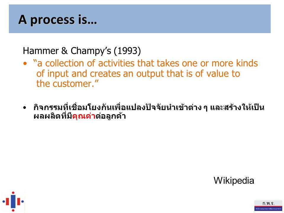 A process is… Hammer & Champy's (1993)