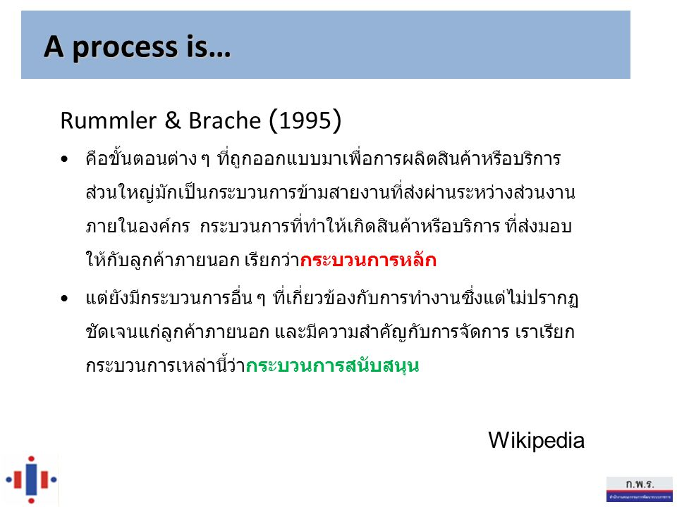 A process is… Rummler & Brache (1995) Wikipedia
