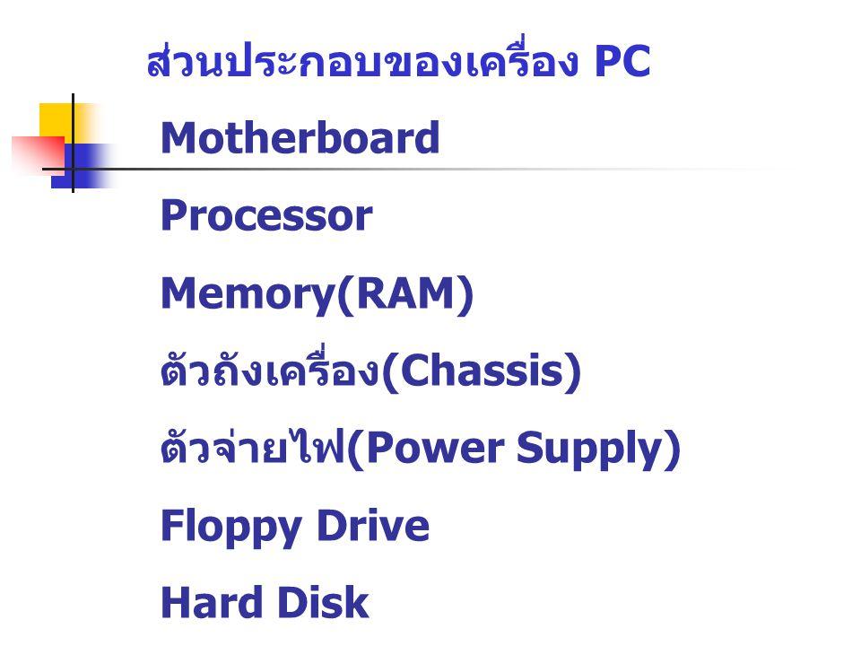 ส่วนประกอบของเครื่อง PC