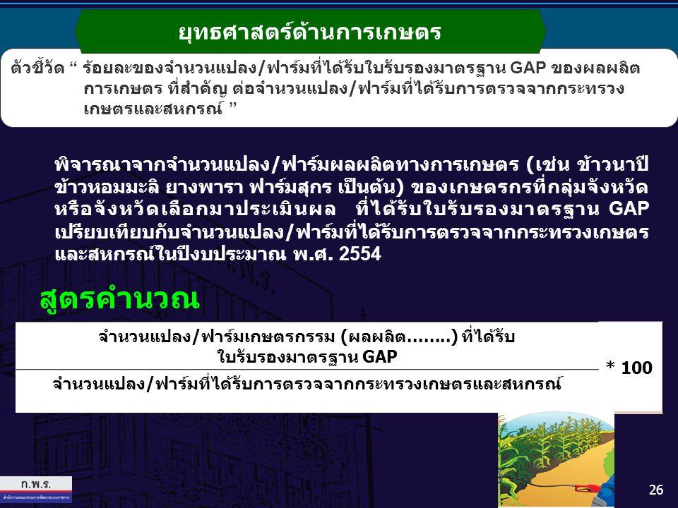 สูตรคำนวณ ยุทธศาสตร์ด้านการเกษตร