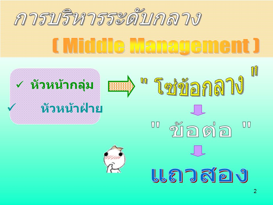 การบริหารระดับกลาง ( Middle Management ) โซ่ข้อกลาง ข้อต่อ