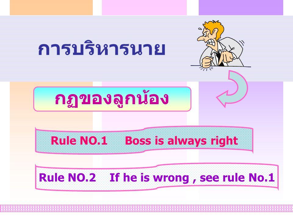 การบริหารนาย กฏของลูกน้อง Rule NO.1 Boss is always right