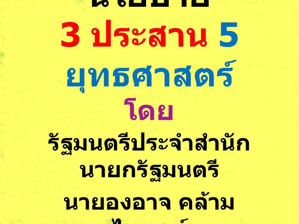 นโยบาย 3 ประสาน 5 ยุทธศาสตร์ โดย