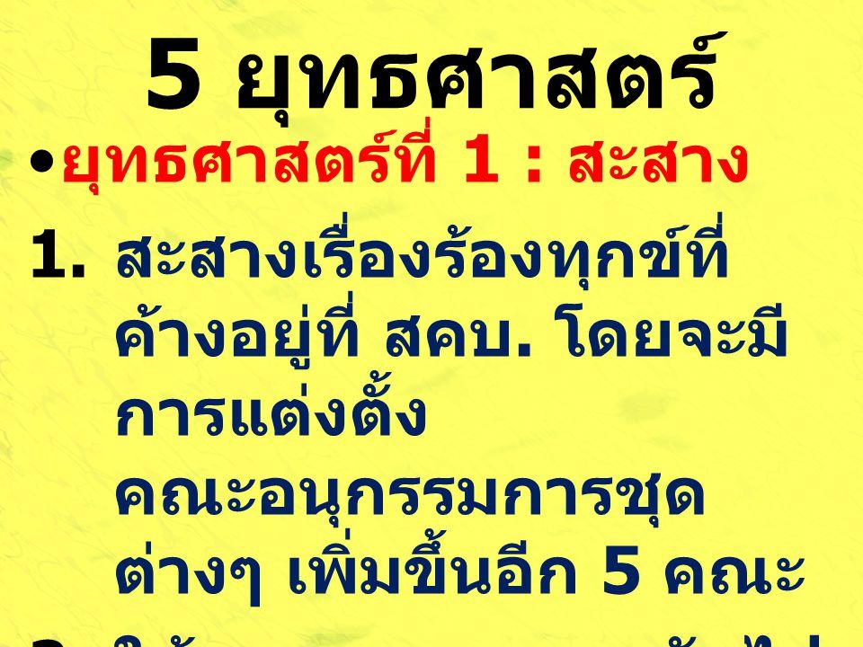 5 ยุทธศาสตร์ ยุทธศาสตร์ที่ 1 : สะสาง
