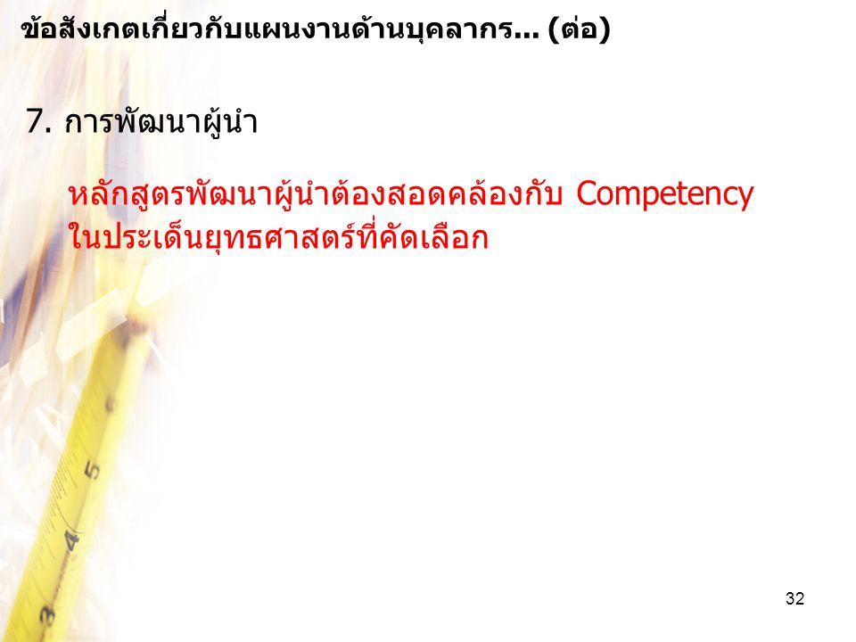 หลักสูตรพัฒนาผู้นำต้องสอดคล้องกับ Competency