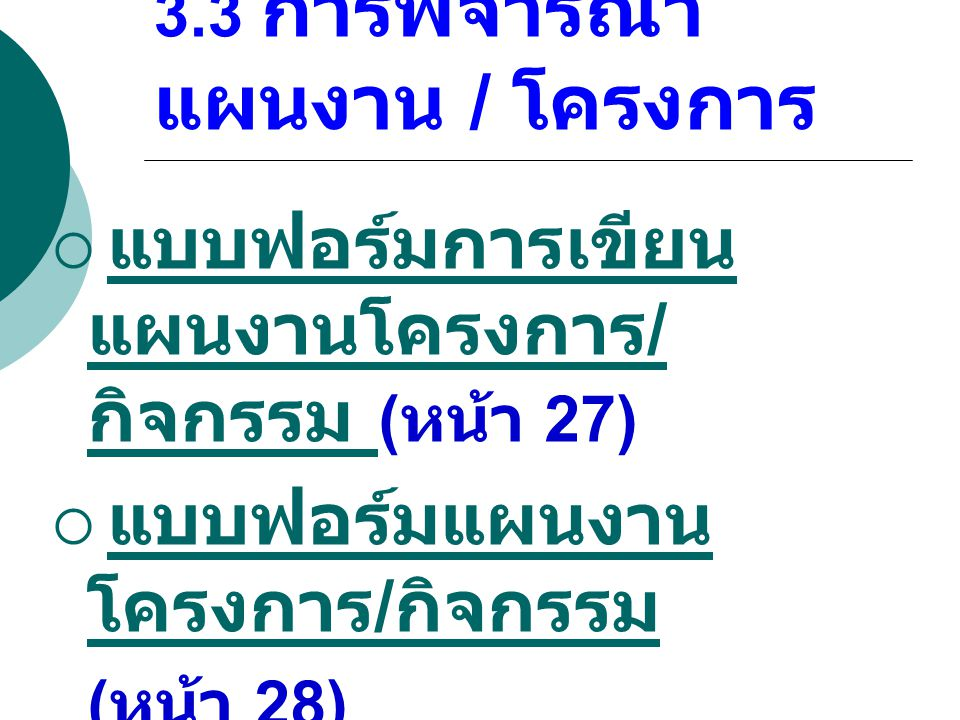 3.3 การพิจารณาแผนงาน / โครงการ