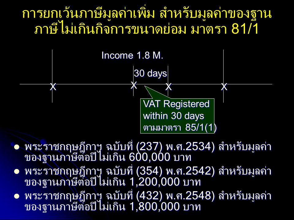 การยกเว้นภาษีมูลค่าเพิ่ม สำหรับมูลค่าของฐานภาษีไม่เกินกิจการขนาดย่อม มาตรา 81/1