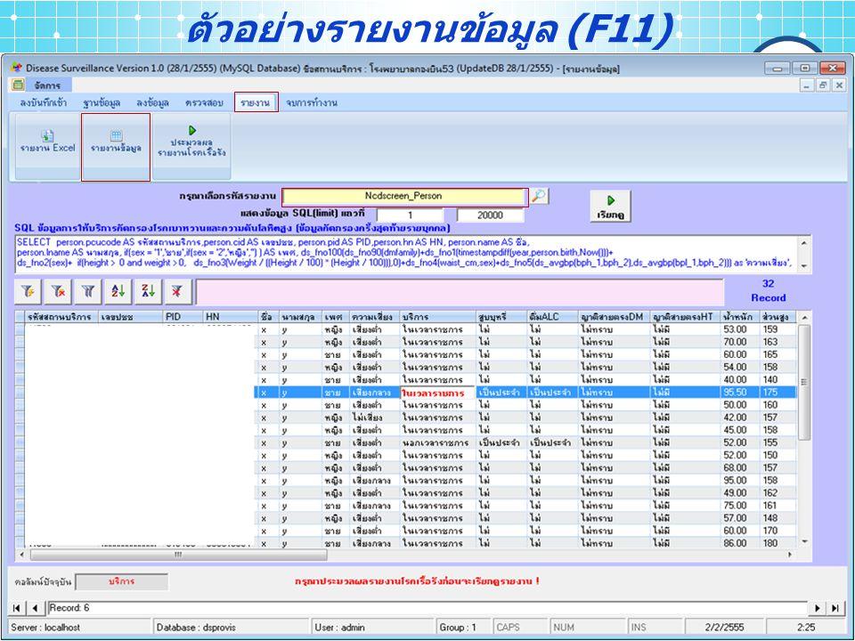 ตัวอย่างรายงานข้อมูล (F11)
