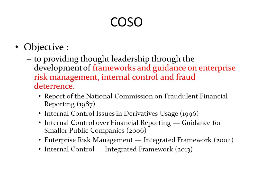 COSO Objective :