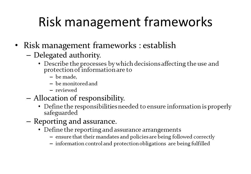 Risk management frameworks