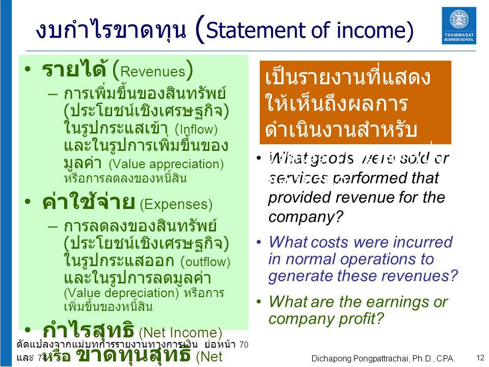 งบกำไรขาดทุน (Statement of income)