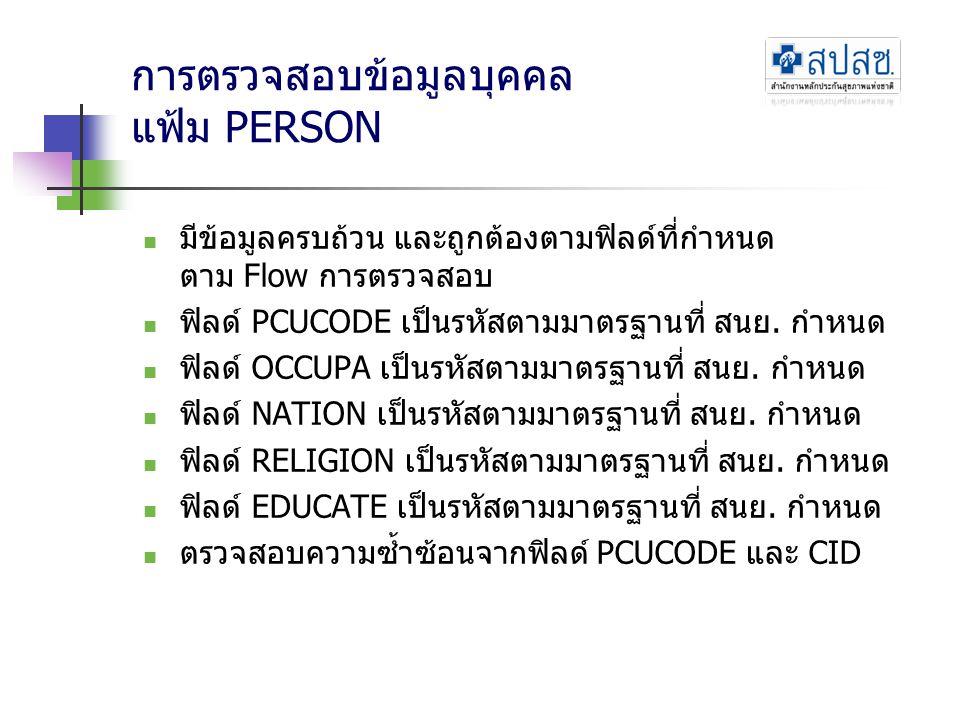 การตรวจสอบข้อมูลบุคคล แฟ้ม PERSON