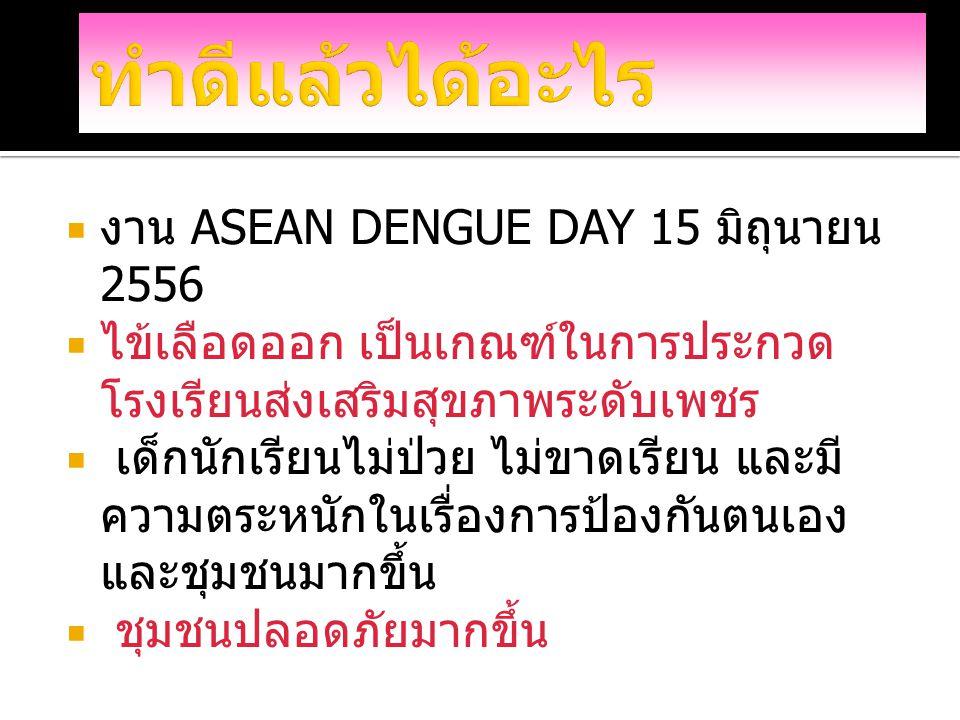 ทำดีแล้วได้อะไร งาน ASEAN DENGUE DAY 15 มิถุนายน 2556