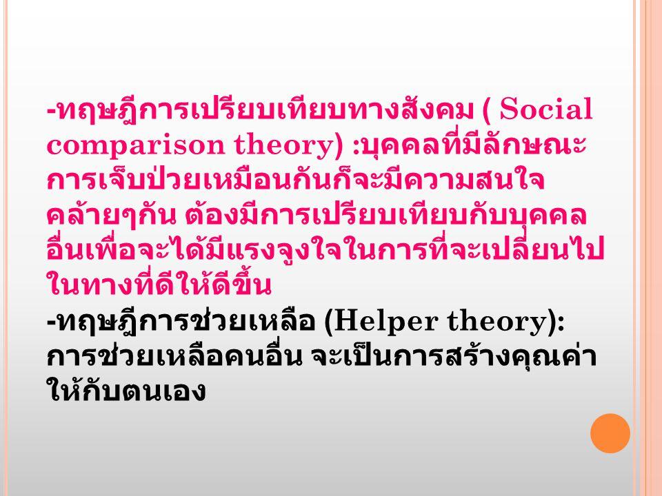 -ทฤษฎีการเปรียบเทียบทางสังคม ( Social comparison theory) :บุคคลที่มีลักษณะการเจ็บป่วยเหมือนกันก็จะมีความสนใจคล้ายๆกัน ต้องมีการเปรียบเทียบกับบุคคลอื่นเพื่อจะได้มีแรงจูงใจในการที่จะเปลี่ยนไปในทางที่ดีให้ดีขึ้น