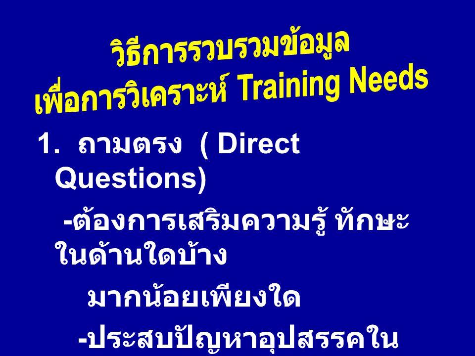 เพื่อการวิเคราะห์ Training Needs