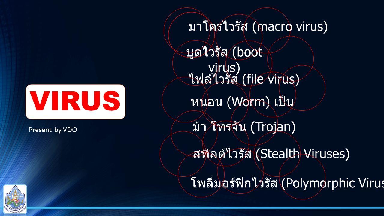VIRUS มาโครไวรัส (macro virus) บูตไวรัส (boot virus)