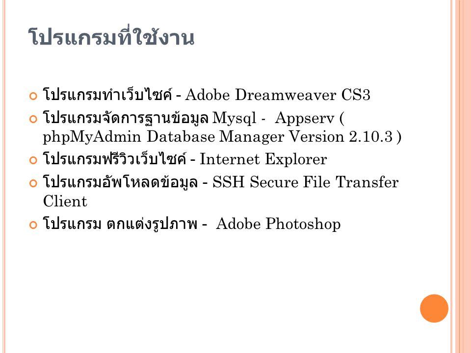 โปรแกรมที่ใช้งาน โปรแกรมทำเว็บไซค์ - Adobe Dreamweaver CS3