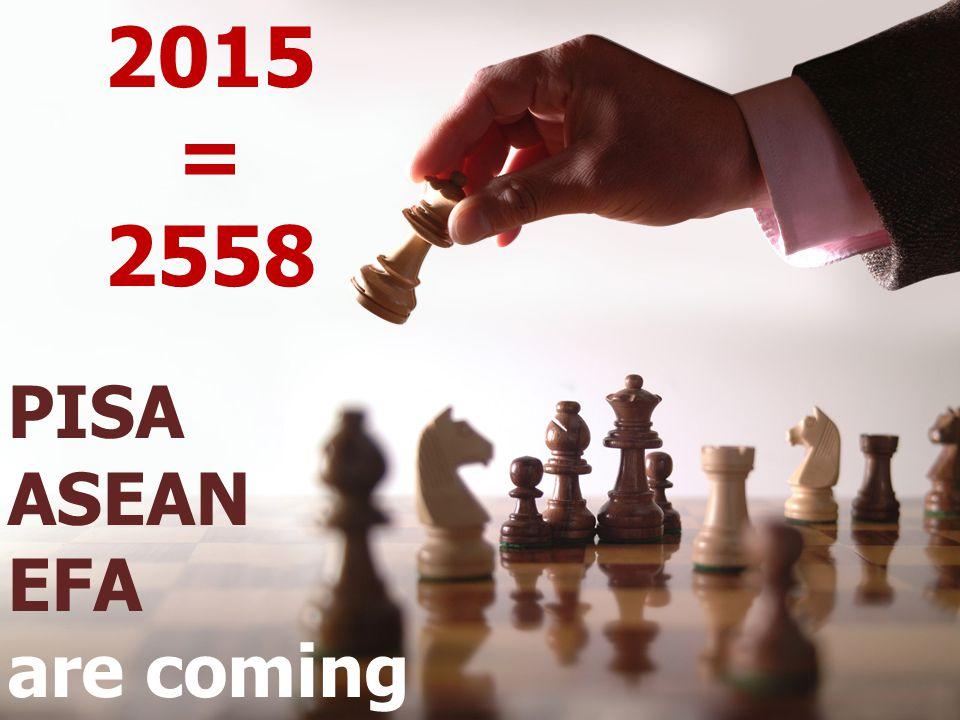 2015 = 2558 PISA ASEAN EFA are coming
