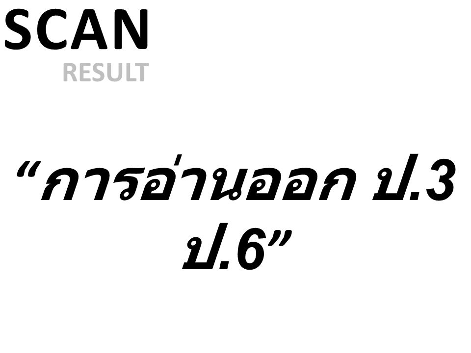 SCAN RESULT การอ่านออก ป.3 ป.6