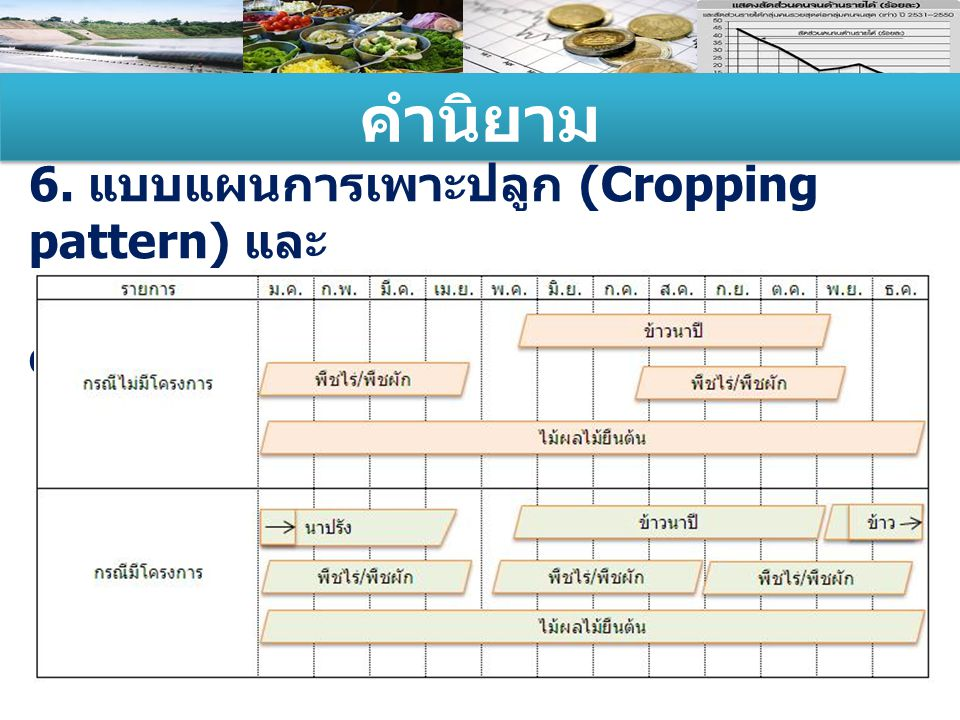 คำนิยาม 6. แบบแผนการเพาะปลูก (Cropping pattern) และ