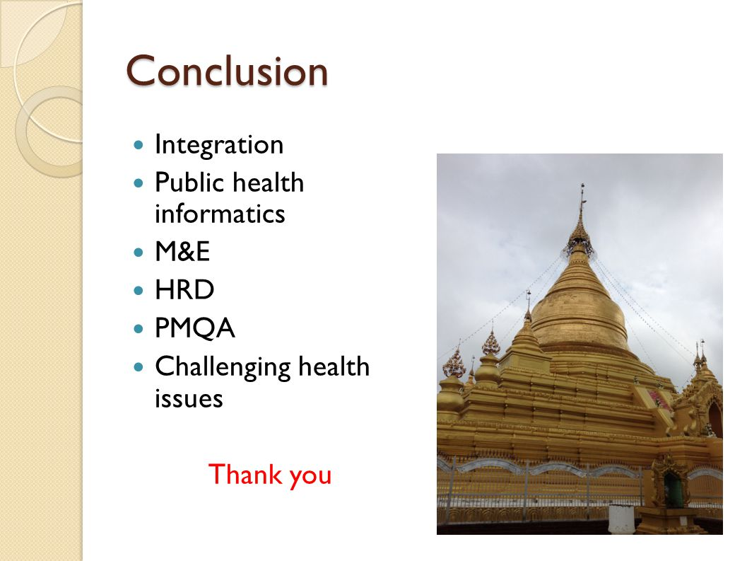 Conclusion Integration Public health informatics M&E HRD PMQA