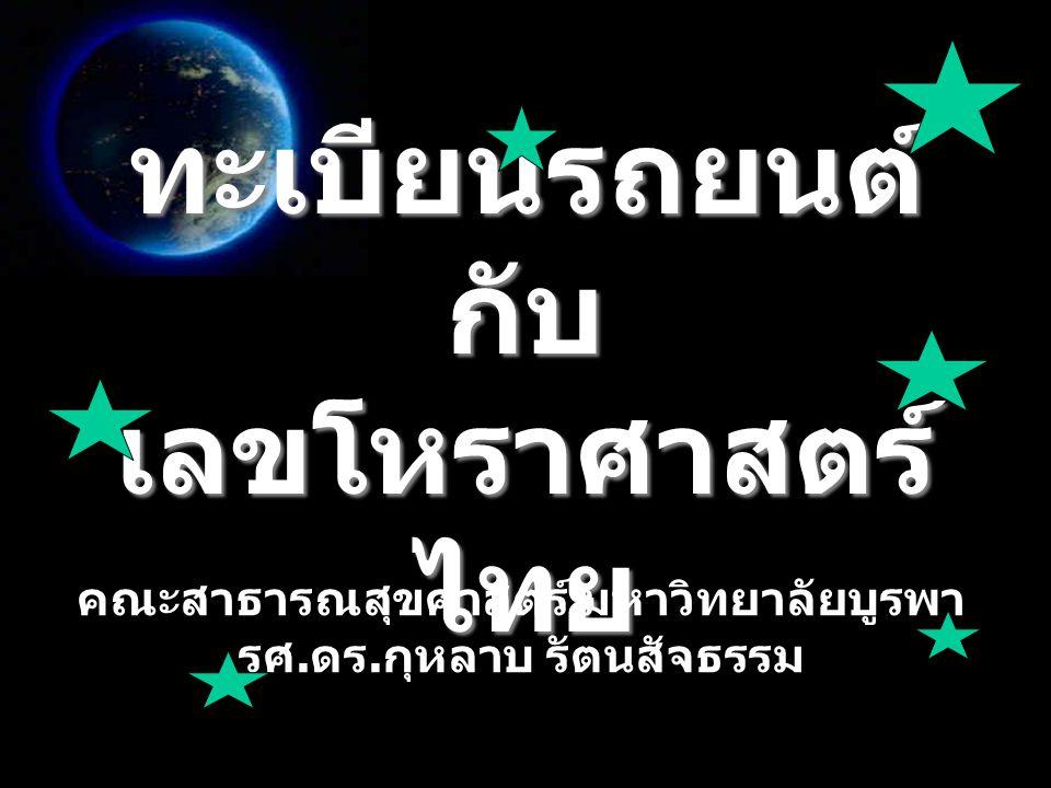 ทะเบียนรถยนต์กับ เลขโหราศาสตร์ไทย