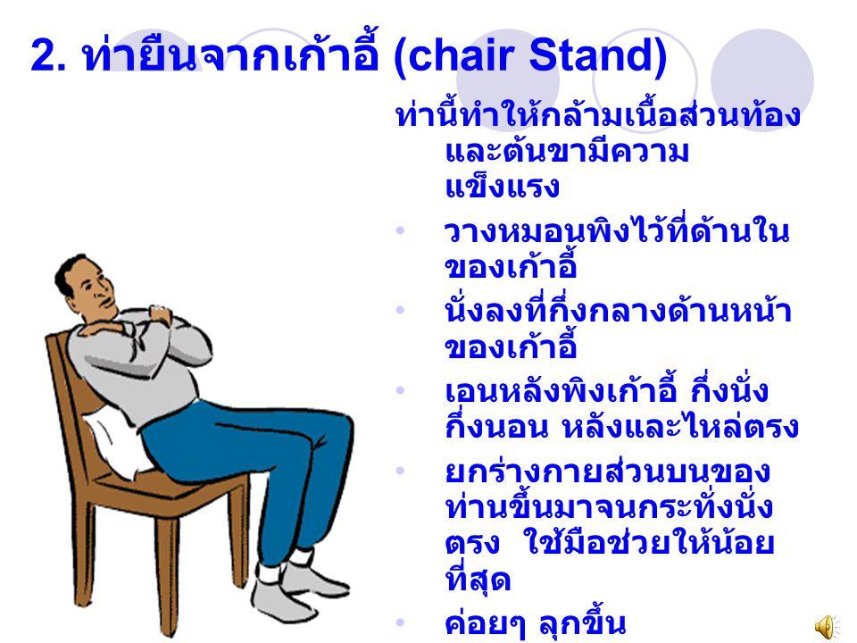2. ท่ายืนจากเก้าอี้ (chair Stand)