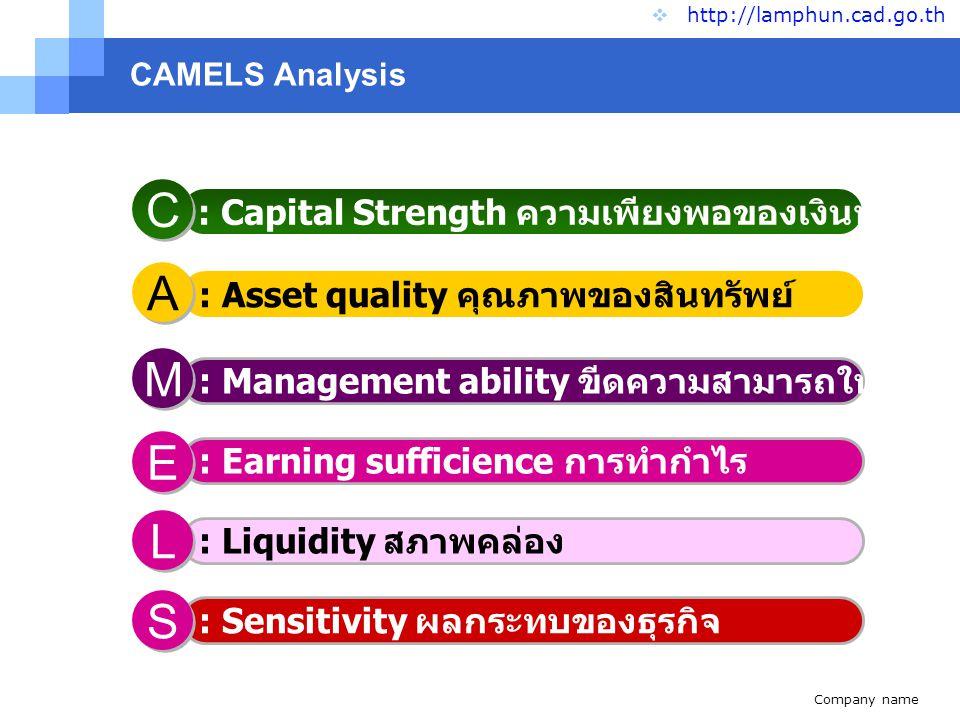 C A M E L S : Capital Strength ความเพียงพอของเงินทุนต่อความเสี่ยง