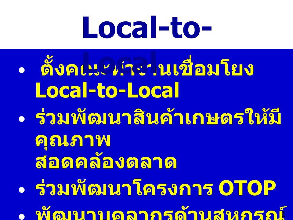 Local-to-Local  ตั้งคณะทำงานเชื่อมโยง Local-to-Local