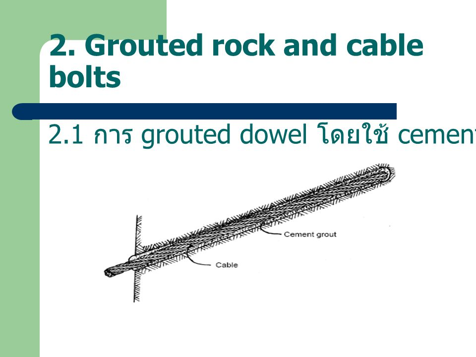 2. Grouted rock and cable bolts